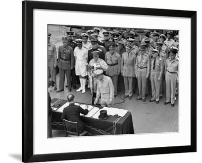 General MacArthur Watching Japanese Official Mamoru Shigemitsu Officially Surrender, USS Missouri