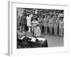 General MacArthur Watching Japanese Official Mamoru Shigemitsu Officially Surrender, USS Missouri by J. R. Eyerman