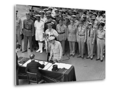 General MacArthur Watching Japanese Official Mamoru Shigemitsu Officially Surrender, USS Missouri