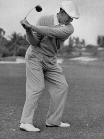 Golfer Ben Hogan, Dropping His Club at Top of Backswing