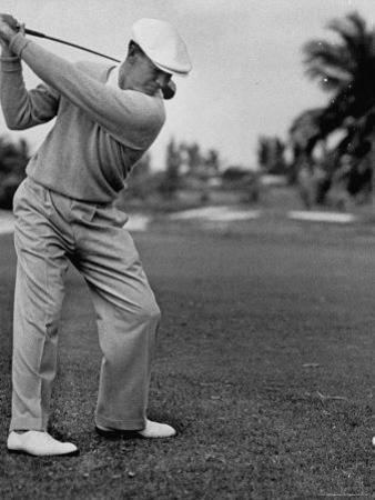 Golfer Ben Hogan, Keeping His Shoulders Level at Top of Swing