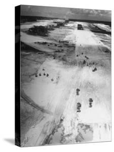 US Navy Seabees Building Runways During Creation of an Air Base by J. R. Eyerman