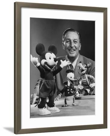 Walt Disney, of Walt Disney Studios, Posing with Some Famous Cartoon Characters
