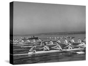 Washington Univ. Rowing Team Practicing on Lake Washington by J. R. Eyerman