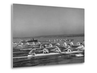 Washington Univ. Rowing Team Practicing on Lake Washington