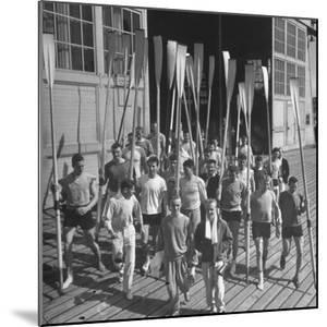 Washington Univ. Rowing Team Showing Up for Practice by J. R. Eyerman