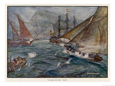 """Captain Fagg in the """"Buck"""" Out-Sails the Spanish Blockade"""