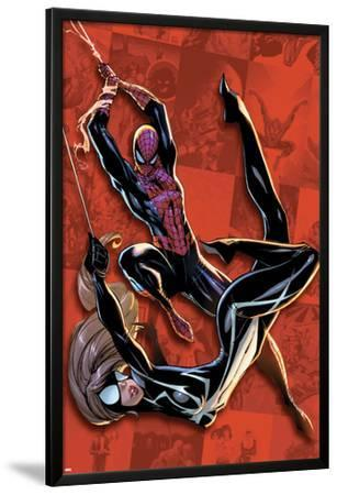 Spider-Man Saga Cover: Spider-man and Spider-Girl Swinging by J. Scott Campbell