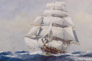 Clipper Under Full Sail by J^ Spurling
