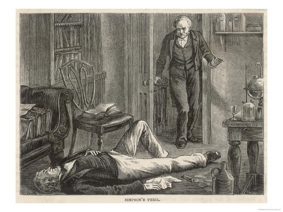 J.Y. Simpson Experiments with Chloroform and is Discovered by a Colleague--Giclee Print