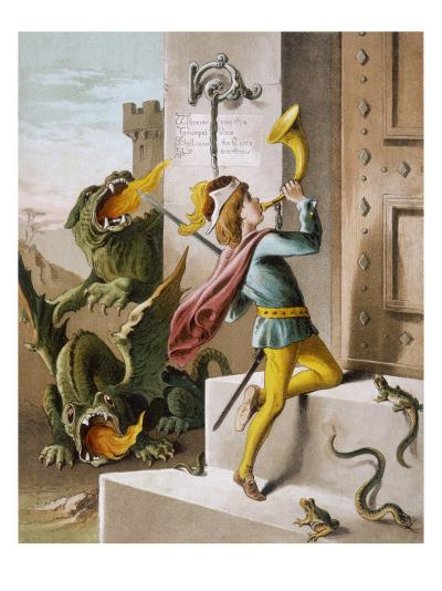Jack Blows His Horn at the Door of the Giant's Castle--Giclee Print