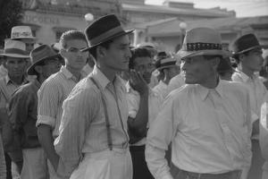 Men at a Strike Meeting in Yabucoa, Puerto Rico, Jan. 1942 by Jack Delano