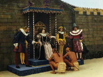 Actors Perform a Scene from a Play About the Lost Colony