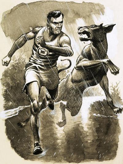 Jack Holden Won a Marathon Despite Being Bitten by a Dog During the Race--Giclee Print