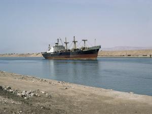 Northbound Ship, Suez Canal, Egypt, North Africa, Africa by Jack Jackson
