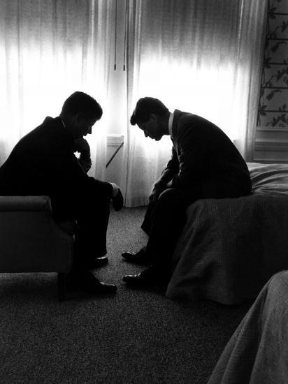 Jack Kennedy Conferring with His Brother and Campaign Organizer Bobby Kennedy in Hotel Suite-Hank Walker-Photographic Print