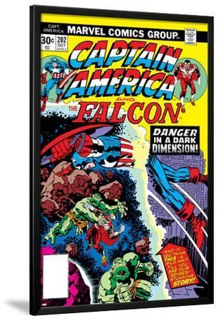 Captain America And The Falcon No.202 Cover: Captain America and Falcon Fighting and Flying