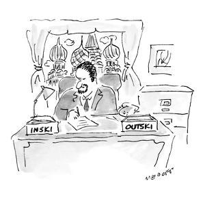 Russian bureaucrat in office has boxes labeled 'Inski' and 'Outski.' - New Yorker Cartoon by Jack Medoff