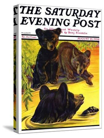 """""""Bear and Cubs in River,"""" Saturday Evening Post Cover, August 25, 1934 by Jack Murray"""