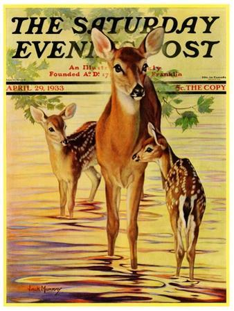 """Doe and Fawns,"" Saturday Evening Post Cover, April 29, 1933 by Jack Murray"