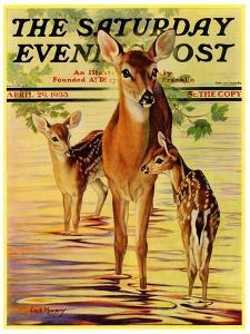 """""""Doe and Fawns,"""" Saturday Evening Post Cover, April 29, 1933 by Jack Murray"""