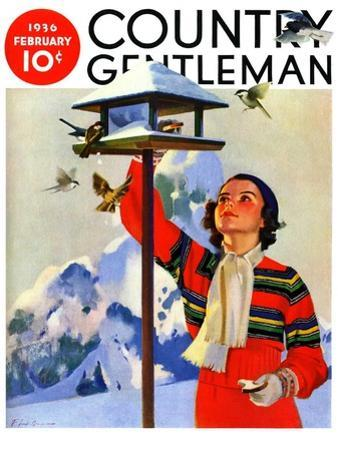 """""""Feeding the Birds,"""" Country Gentleman Cover, February 1, 1936 by Jack Murray"""