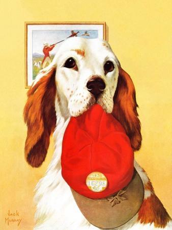"""""""Hunting Dog and Cap,""""October 29, 1938 by Jack Murray"""