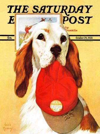 """Hunting Dog and Cap,"" Saturday Evening Post Cover, October 29, 1938 by Jack Murray"