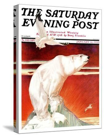 """Polar Bear on Iceberg,"" Saturday Evening Post Cover, January 14, 1933 by Jack Murray"