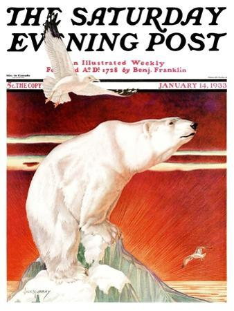 """Polar Bear on Iceberg,"" Saturday Evening Post Cover, January 14, 1933 by Jack Murray"
