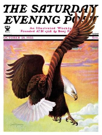 """Soaring Bald Eagle,"" Saturday Evening Post Cover, October 28, 1933 by Jack Murray"