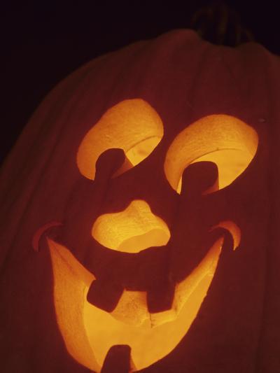 Jack-O-Lantern Lit at Halloween, Washington, USA-John & Lisa Merrill-Photographic Print