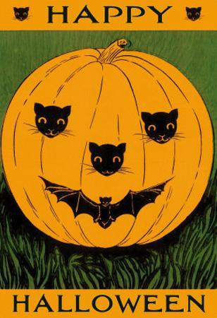Jack O'Lantern with Cats and Bat