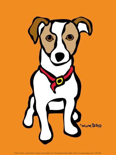Jack Russell on Orange-Marc Tetro-Art Print