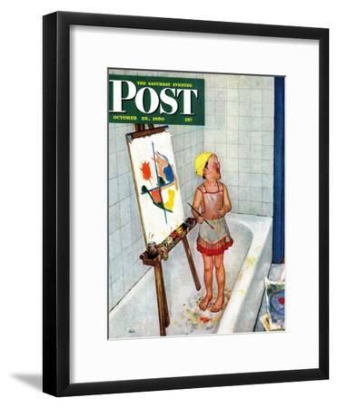 """""""Artist in the Bathtub"""" Saturday Evening Post Cover, October 28, 1950"""