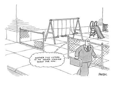A businessman walks away from a playground. The playground contains a swin… - New Yorker Cartoon by Jack Ziegler
