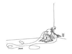 A dusty robot plugs itself in. - New Yorker Cartoon by Jack Ziegler