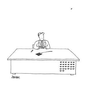 "A man is seated as his desk, looking up with a fly swatter in front of him?"" - New Yorker Cartoon by Jack Ziegler"