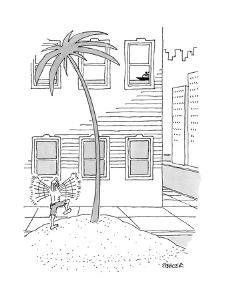 A man on a desert island on a city street waving to a ship up in a window. - New Yorker Cartoon by Jack Ziegler