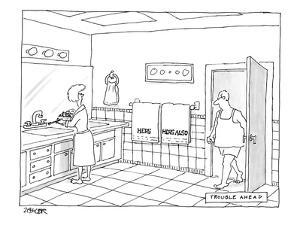 A man walks into a bathroom where his wife is putting toothpaste on a toot? - New Yorker Cartoon by Jack Ziegler