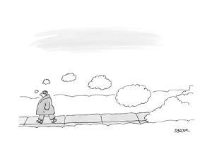 A man walks on the sidewalk trailing thought bubbles behind him. - New Yorker Cartoon by Jack Ziegler