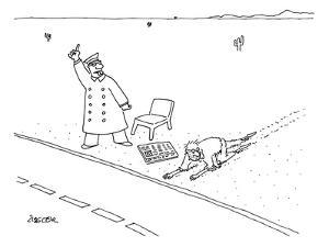 A man who has just crawled through the desert reaches a road, where a New ? - New Yorker Cartoon by Jack Ziegler