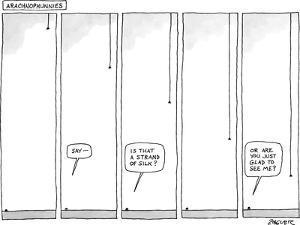 """Arachnophunnies"" - New Yorker Cartoon by Jack Ziegler"
