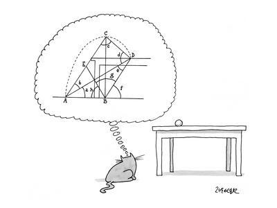 Cat thinks of a complex equation to get a ball off of a table. - New Yorker Cartoon