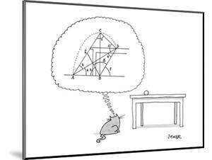 Cat thinks of a complex equation to get a ball off of a table. - New Yorker Cartoon by Jack Ziegler