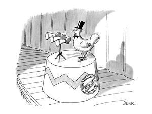 Chickhen with top-hat, a seal on it's stand reads 'Nat'l Endowment Seal of? - New Yorker Cartoon by Jack Ziegler
