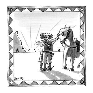 Cowboy shielding horse's eyes as he kisses a girl. - New Yorker Cartoon by Jack Ziegler