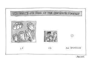Depicts Beatle's Rubber Soul Record, CD, and download. - Cartoon by Jack Ziegler