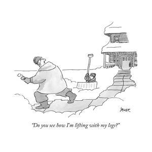 """""""Do you see how I'm lifting with my legs?"""" - New Yorker Cartoon by Jack Ziegler"""