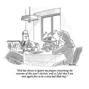 """""""God has chosen to ignore my prayers concerning the outcome of this year's?"""" - New Yorker Cartoon by Jack Ziegler"""